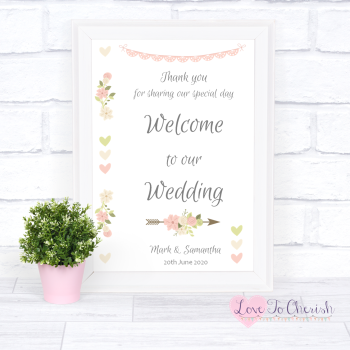 Vintage Flowers & Hearts - Welcome To Our Wedding Sign