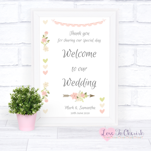 Welcome To Our Wedding Sign - Vintage Flowers & Hearts | Love To Cherish