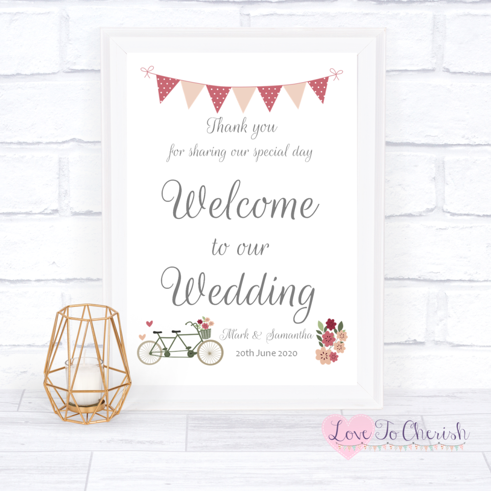 Welcome To Our Wedding Sign - Vintage Tandem Bike/Bicycle Shabby Chic   Lov