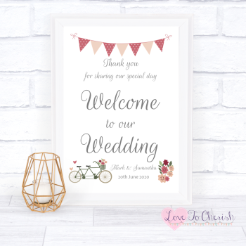 Vintage Tandem Bike/Bicycle Shabby Chic - Welcome To Our - Wedding Sign
