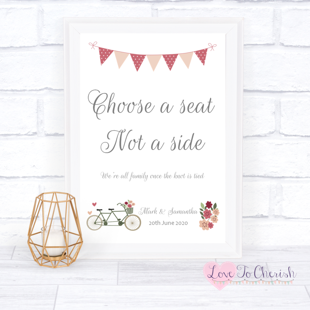 Choose A Seat Not A Side Wedding Sign - Vintage Tandem Bike/Bicycle Shabby