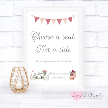 Vintage Tandem Bike/Bicycle Shabby Chic - Choose A Seat Not A Side - Wedding Sign