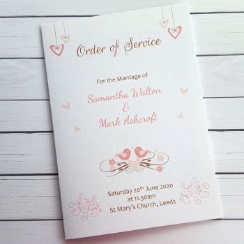 Shabby Chic Hanging Hearts & Love Birds Wedding Order of Service
