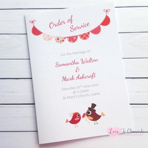 Order of Service Bride & Groom Cute Love Birds & Bunting Dark Pink | Love T