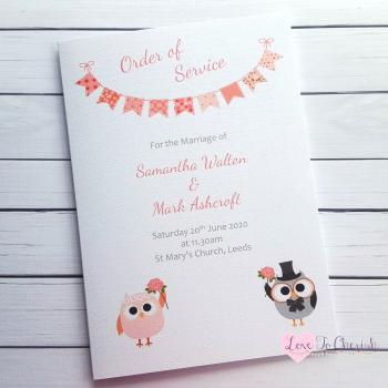 Bride & Groom Cute Owls & Bunting Peach Wedding Order of Service