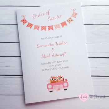 Bride & Groom Cute Owls in Car Peach Wedding Order of Service