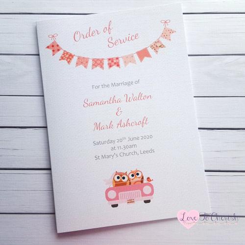 Order of Service Bride & Groom Cute Owls in Car Peach Wedding | Love To Che