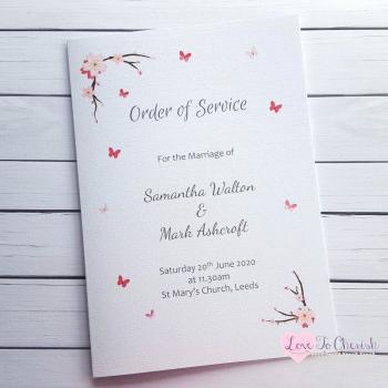 Cherry Blossom & Butterflies Wedding Order of Service