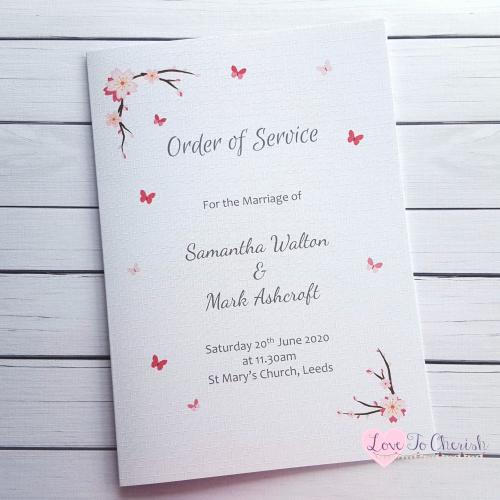 Order of Service Cherry Blossom & Butterflies Wedding | Love To Cherish