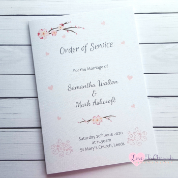 Cherry Blossom & Pink Hearts Wedding Order of Service