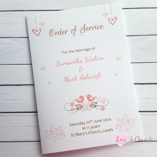 Order of Service Shabby Chic Hanging Hearts & Love Birds Wedding | Love To