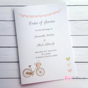 Vintage Bike/Bicycle Shabby Chic Pink Lace Bunting Wedding Order of Service