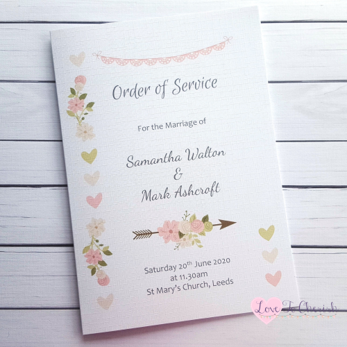 Order of Service Vintage Flowers & Hearts Wedding | Love To Cherish