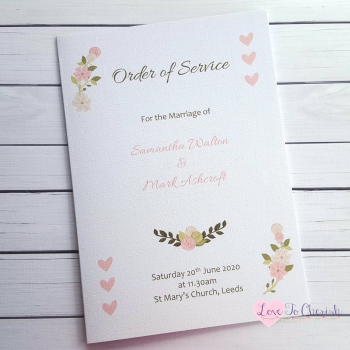 Vintage/Shabby Chic Flowers & Pink Hearts Wedding Order of Service