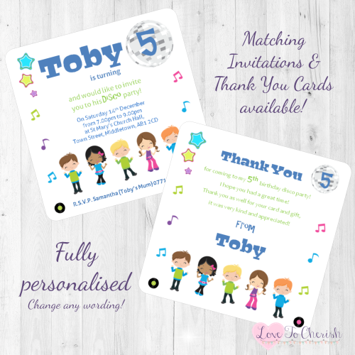 Disco Party Invitations & Thank You Cards