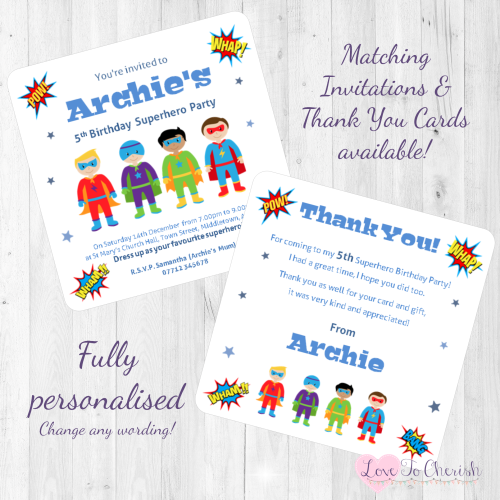 Superhero Party Invitations & Thank You Cards