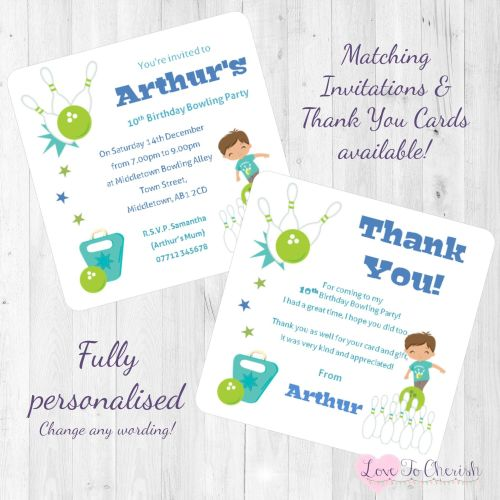 Boys Bowling Birthday Party Invitations & Thank You Cards