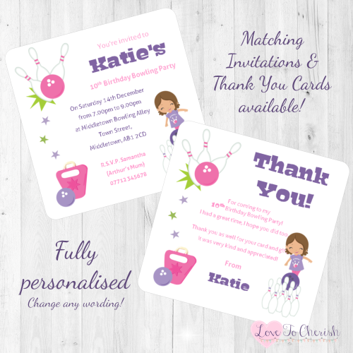Girl's Bowling Party Invitations & Thank You Cards