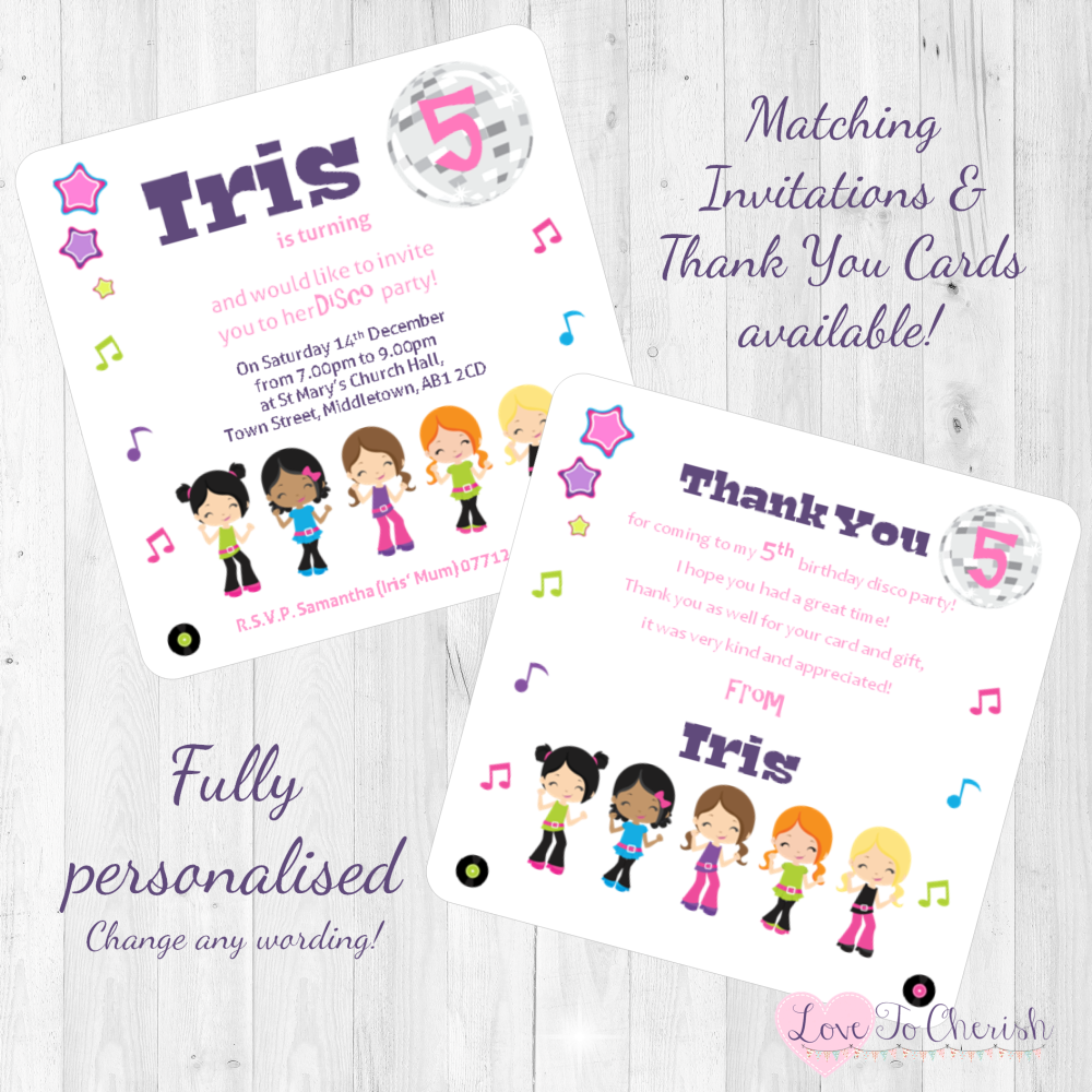 Girl's Disco Party Invitations & Thank You Cards