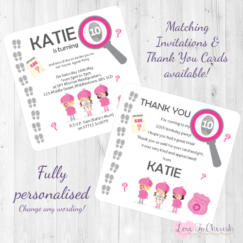Girl's Secret Agent / Spy Party Invitations & Thank You Cards