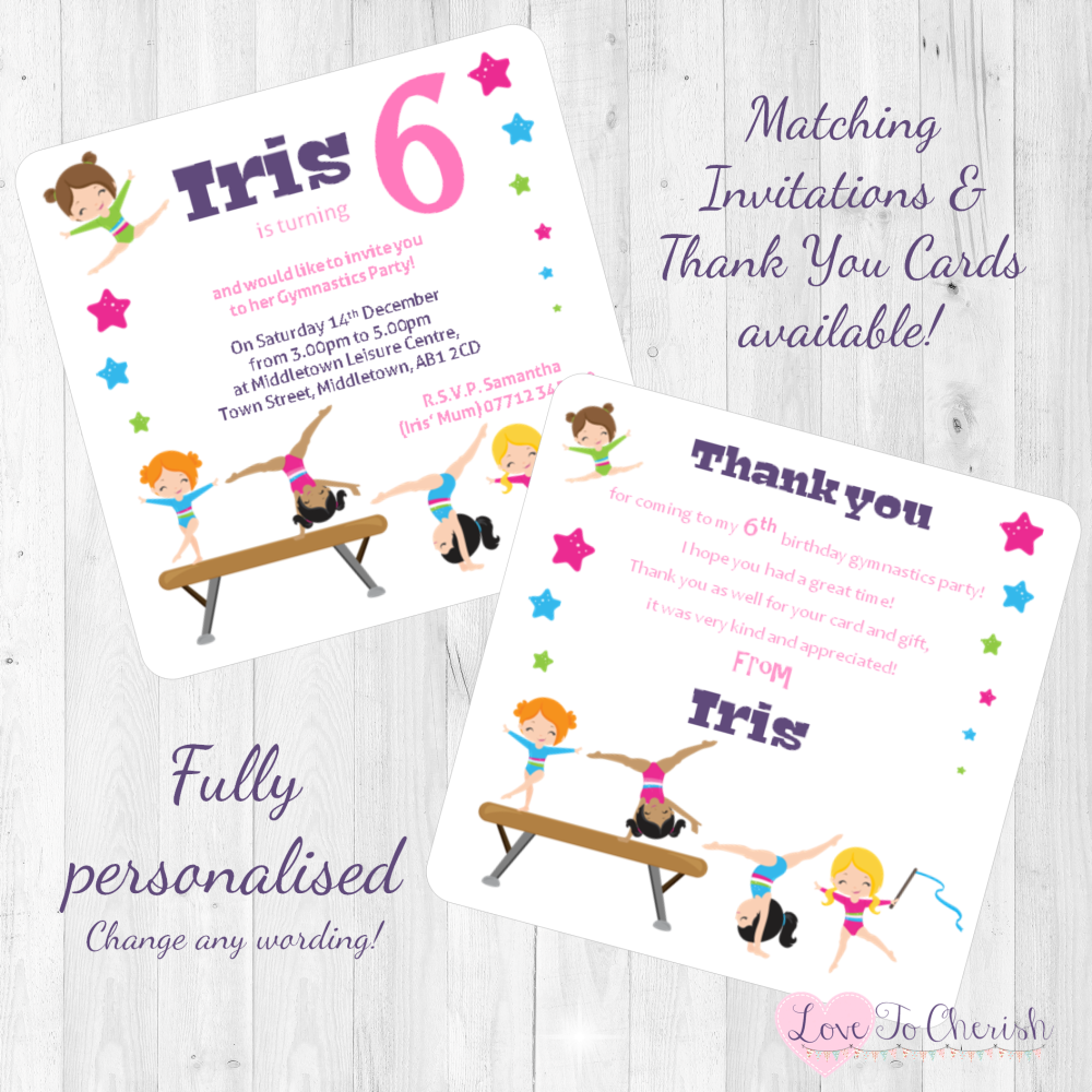 Gymnastics Party Invitations & Thank You Cards