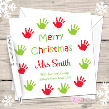 Teacher - Hand Print Wreath Personalised Christmas Card
