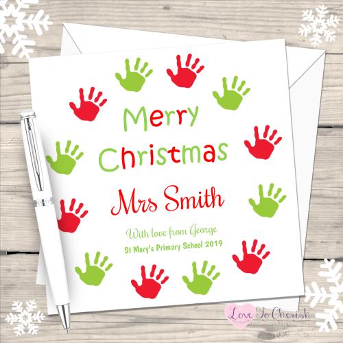 Teacher - Hand Print Wreath Personalised Christmas Card
