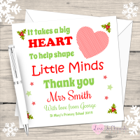 Teacher - It Takes A Big Heart - Personalised Christmas Card