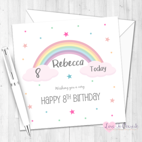 Rainbow Personalised Birthday Card