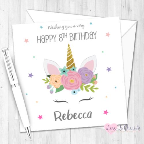 Unicorn Personalised Birthday Card