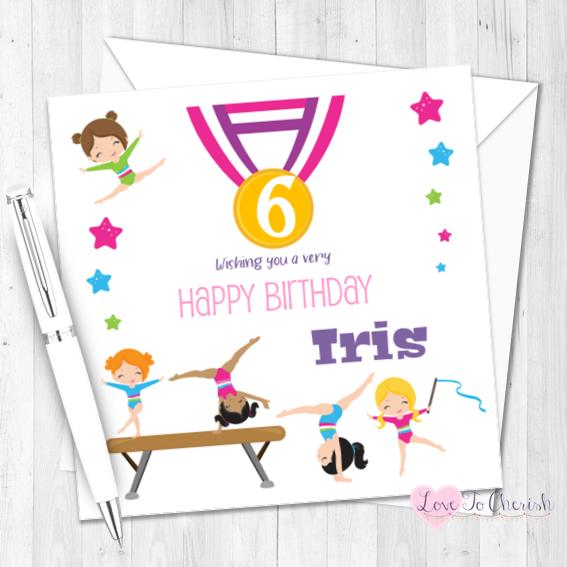 Gymnastics Personalised Birthday Card