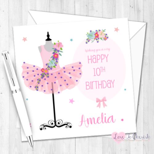 Ballerina Tutu Personalised Birthday Card