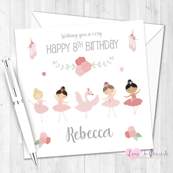 Ballerina / Ballet Girls Personalised Birthday Card