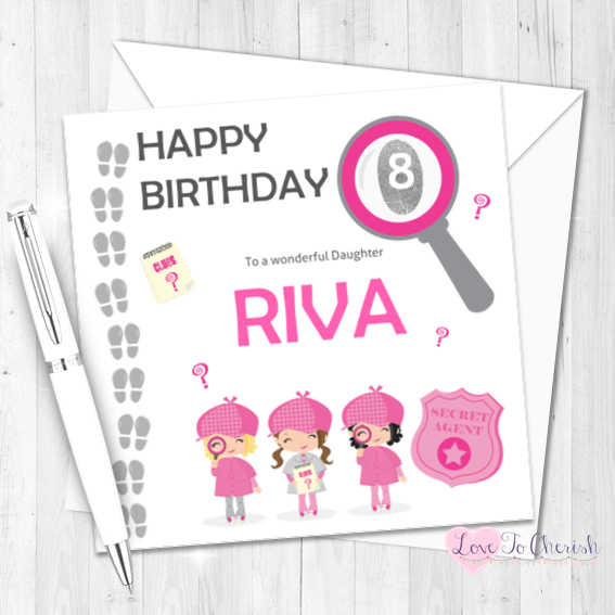 Secret Agent / Spy Girls Personalised Birthday Card