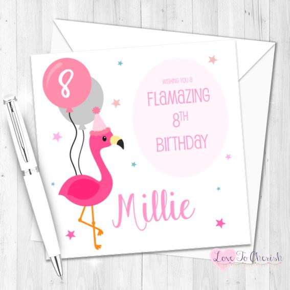 Pink Flamingo Personalised Birthday Card