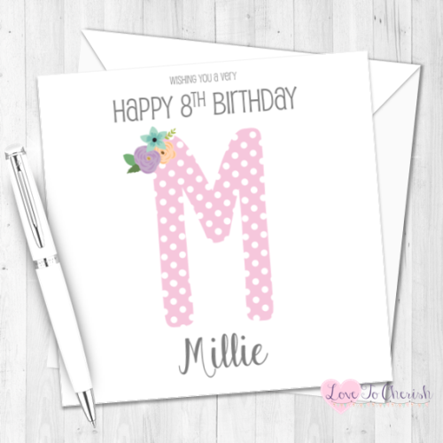 Pink Polka Dot Initial Personalised Birthday Card