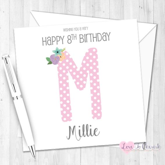Pink Polka Dot Initial Personalised Birthday Card