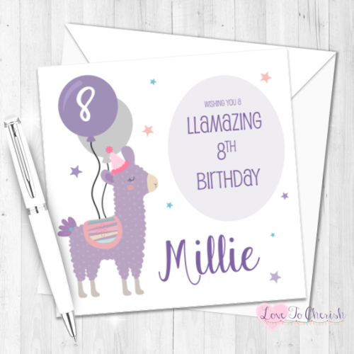 Llama Personalised Birthday Card