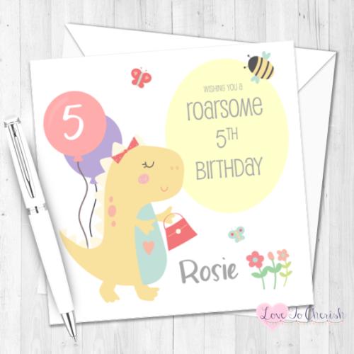 Girls Dinosaur Personalised Birthday Card