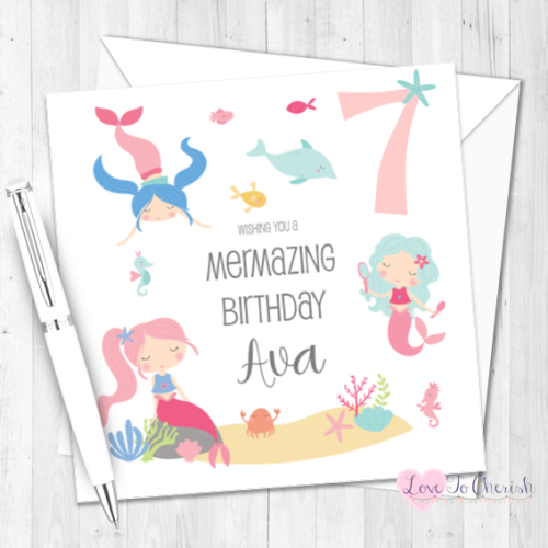 Mermaid Personalised Birthday Card