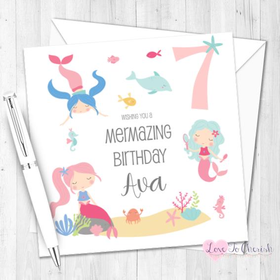 Mermaid Personalised Birthday Card