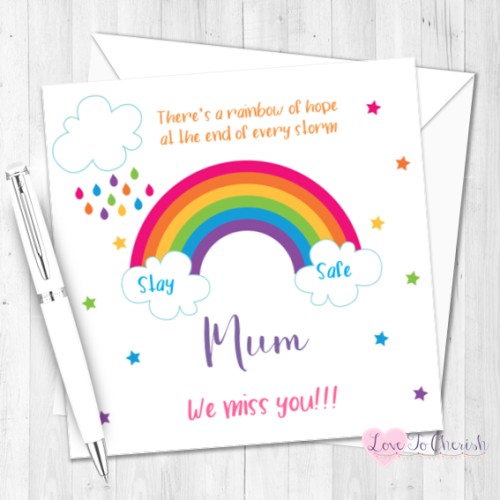 Rainbow Personalised Card - Missing You / Thinking of You