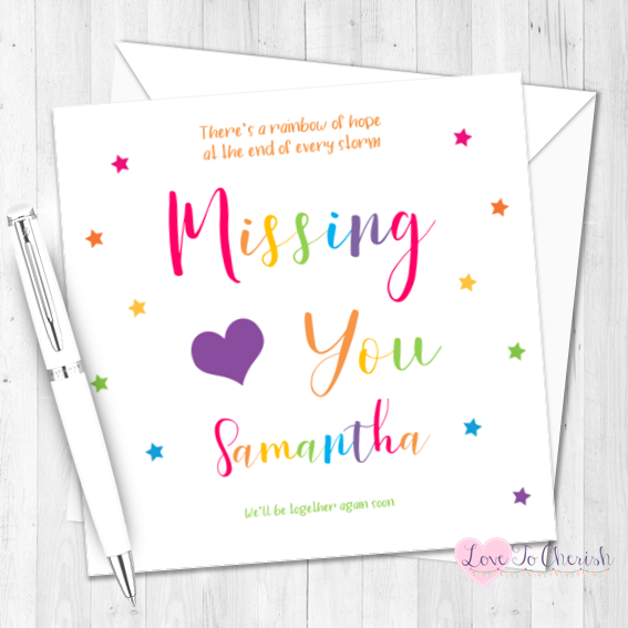 Missing You Rainbow Colours Card - Thinking of You