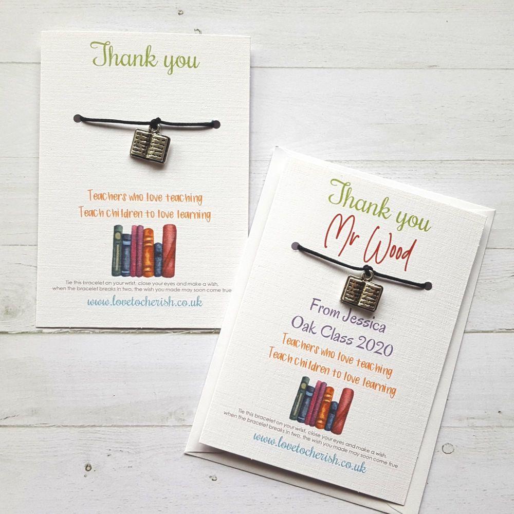 Book Charm Teacher Wish Bracelet