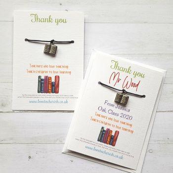 Book Charm Teacher Wish Bracelet (Personalised Option)