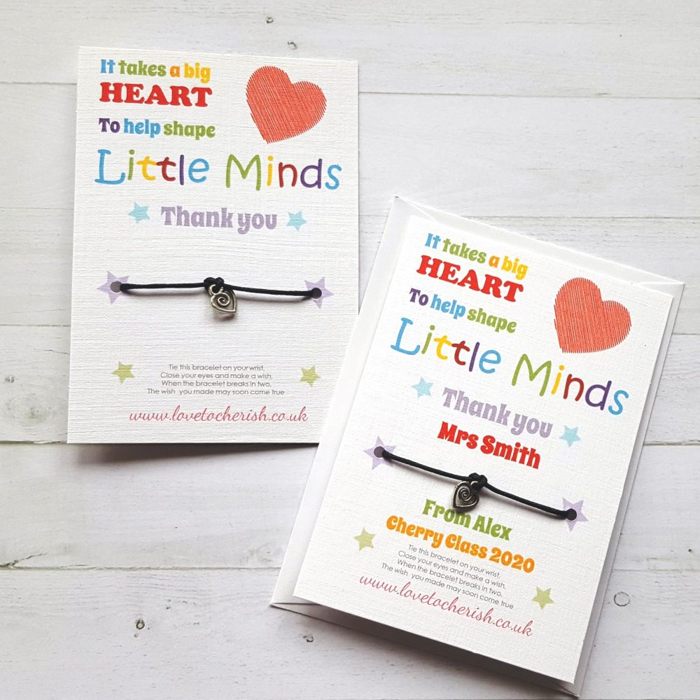 It Takes A Big Heart, Heart Charm, Teacher Wish Bracelet