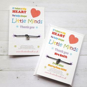 It Takes A Big Heart - Heart Charm - Teacher Wish Bracelet (Personalised Option)