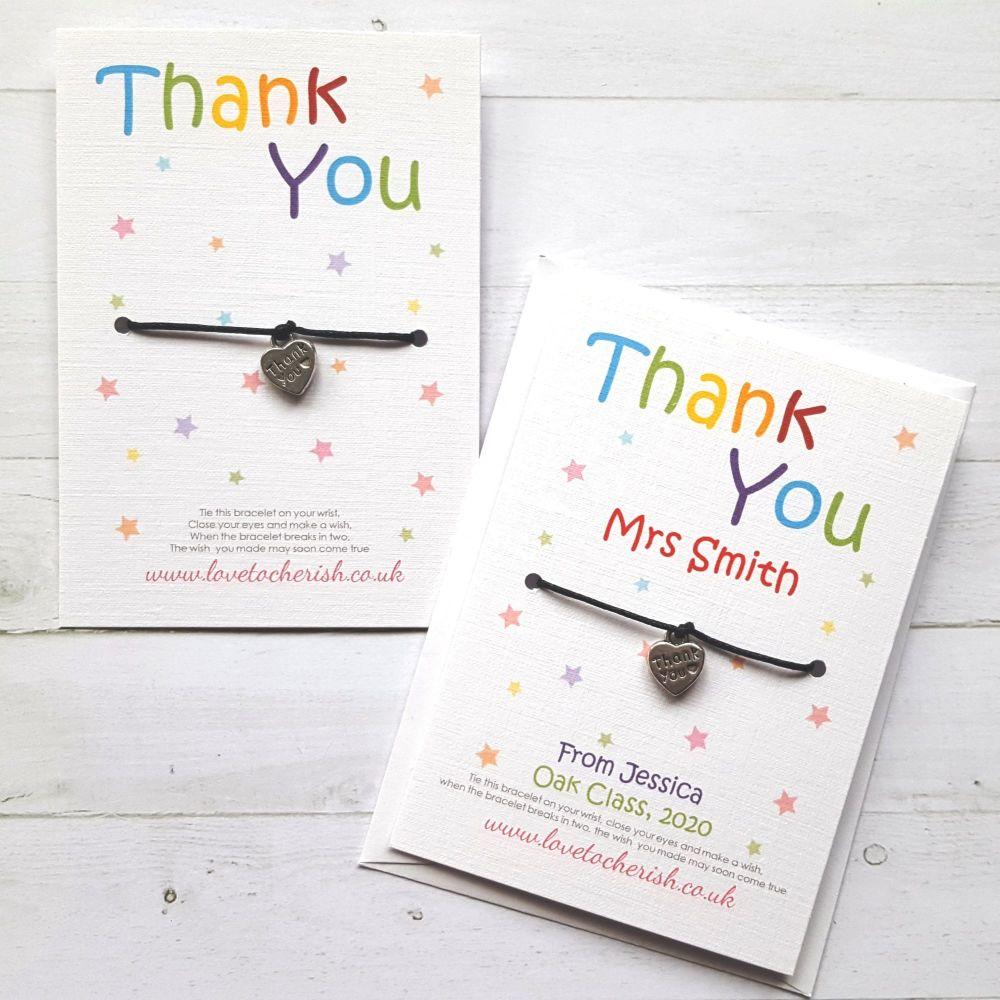 Thank You Wish Bracelet, Heart Charm, Teacher Wish Bracelet