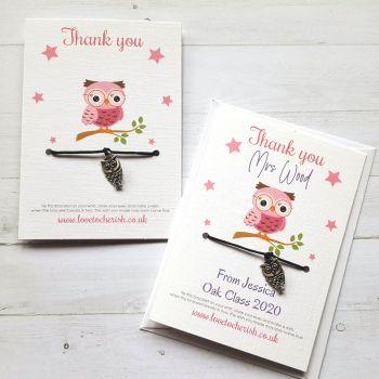 Owl Charm - Pink Design - Teacher Wish Bracelet (Personalised Option)
