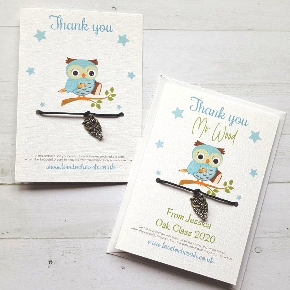 Owl Charm - Blue Design - Teacher Wish Bracelet